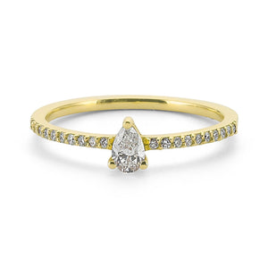 Pave Solitaire Pear Ring