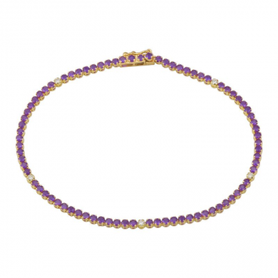 Amethyst and Diamond Tennis Bracelet