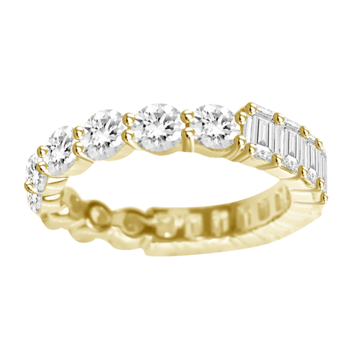 3.4ct Half Round Half Emerald Cut Diamond Eternity Band