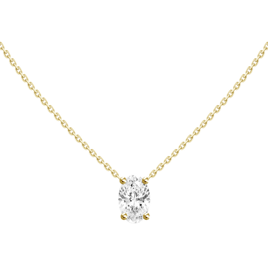 0.3ct Floating Oval Diamond Solitaire Necklace