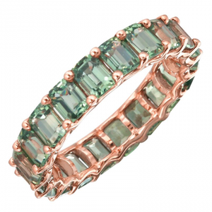 Petite Emerald Cut Green Sapphire Eternity Ring