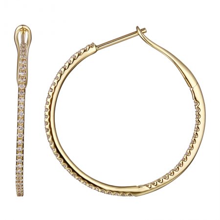 Pave 27mm Diamond Hoops