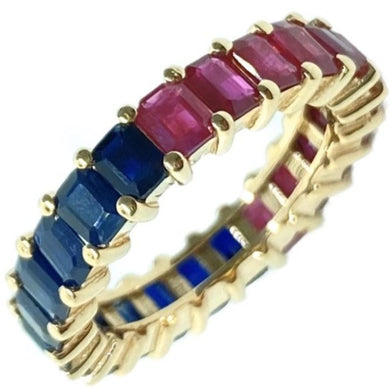 Half/Half Gemstone Eternity Band