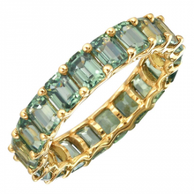 Load image into Gallery viewer, Petite Emerald Cut Green Sapphire Eternity Ring