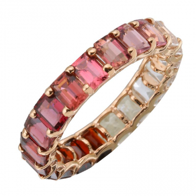 14k Gold Gemstone Red Ombre Full Eternity Ring Petite Emerald Cut