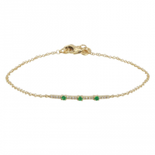 Load image into Gallery viewer, Diamond and Emerald Bar Bracelet