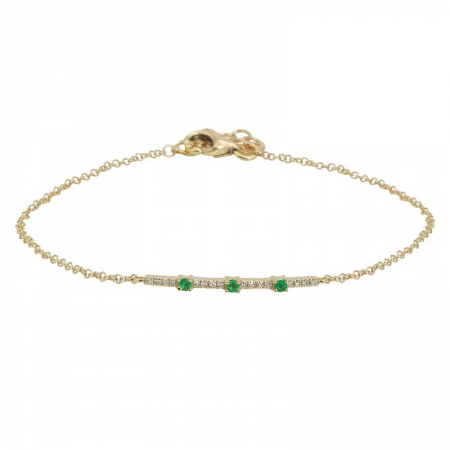 Diamond and Emerald Bar Bracelet