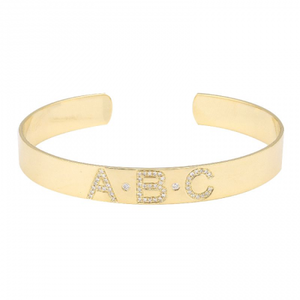Diamond Personalized Cuff Bangle