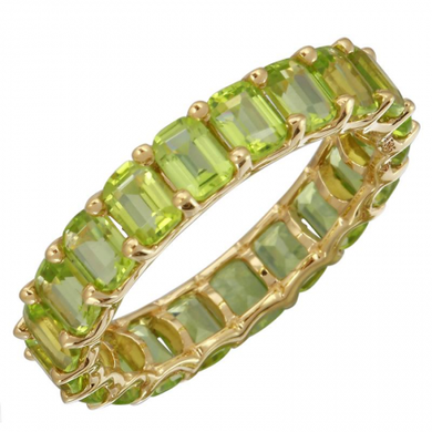 14k Gold Emerald Cut Peridot Eternity Band