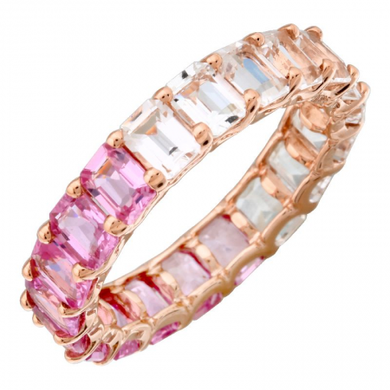 14k Gold Gemstone Pink Eternity Ring Petite Emerald Cut