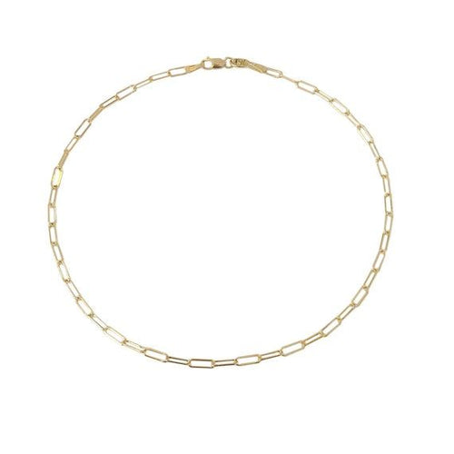 14k Thin 2.5mm Paper Clip Anklet
