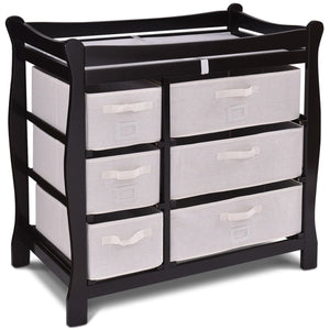 Costway Sleigh Style Baby Changing Table with 6 Basket Drawers