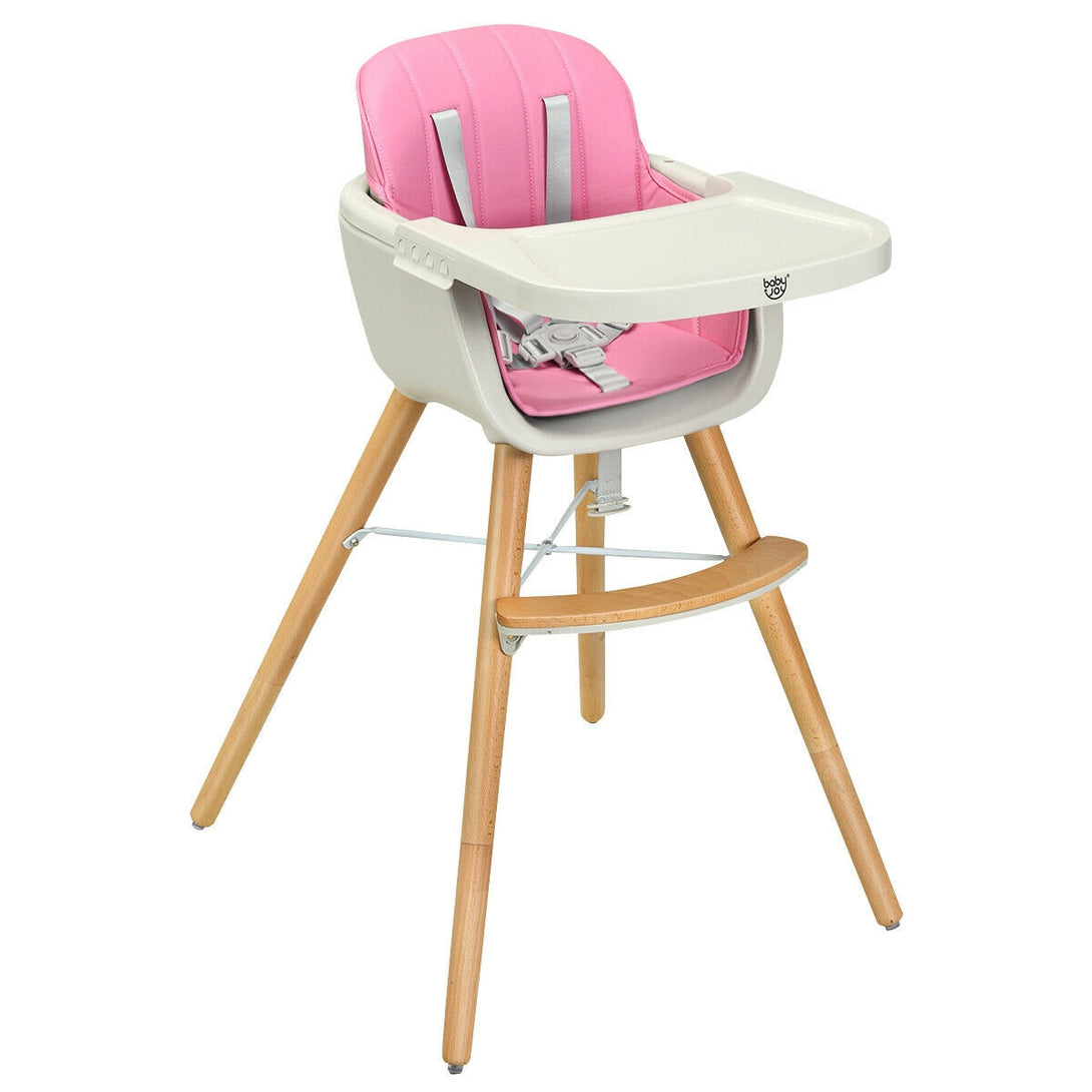 Wooden Baby 3 in 1 Convertible High chair w/ Cushion