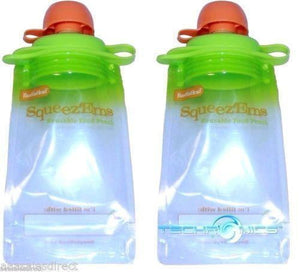 Two Booginhead Squeez'ems Kids Reusable Refillable Homemade Food Pouch B2g 15%of
