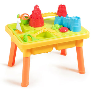 Kids Sand and Water Play Table with Sand Castle Molds
