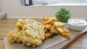 Vegan fish and chips with macho peas and tartare sauce