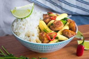 "Vegan Thai green ""tofu-chicken"" curry"