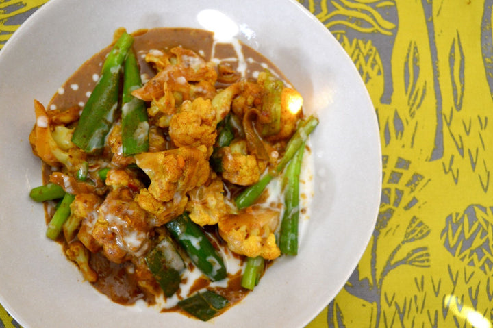 Cauliflower satay with jasmine rice