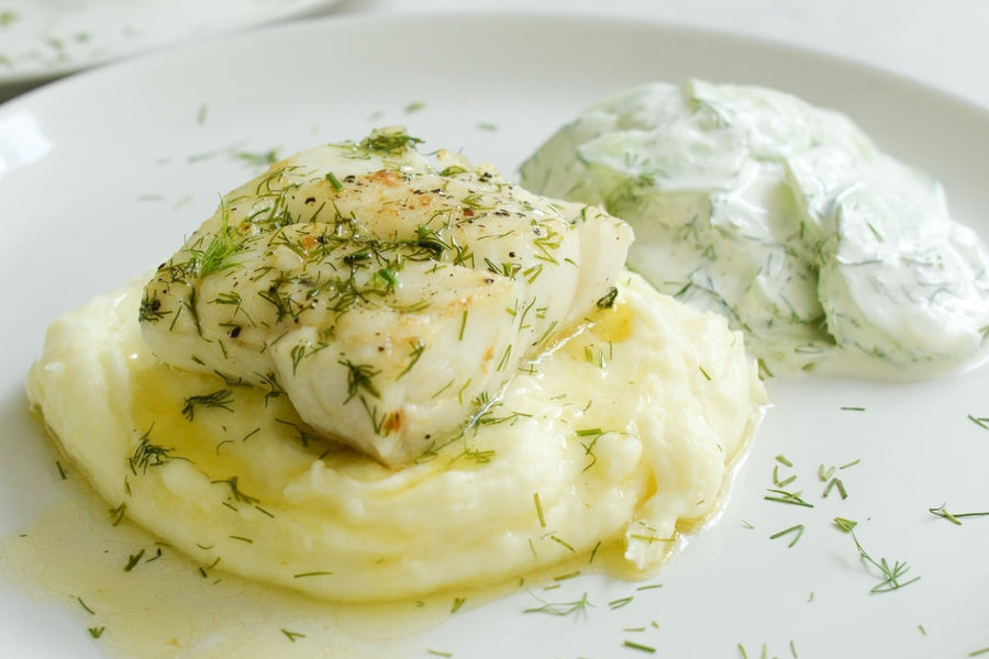 Cod with dill butter sauce