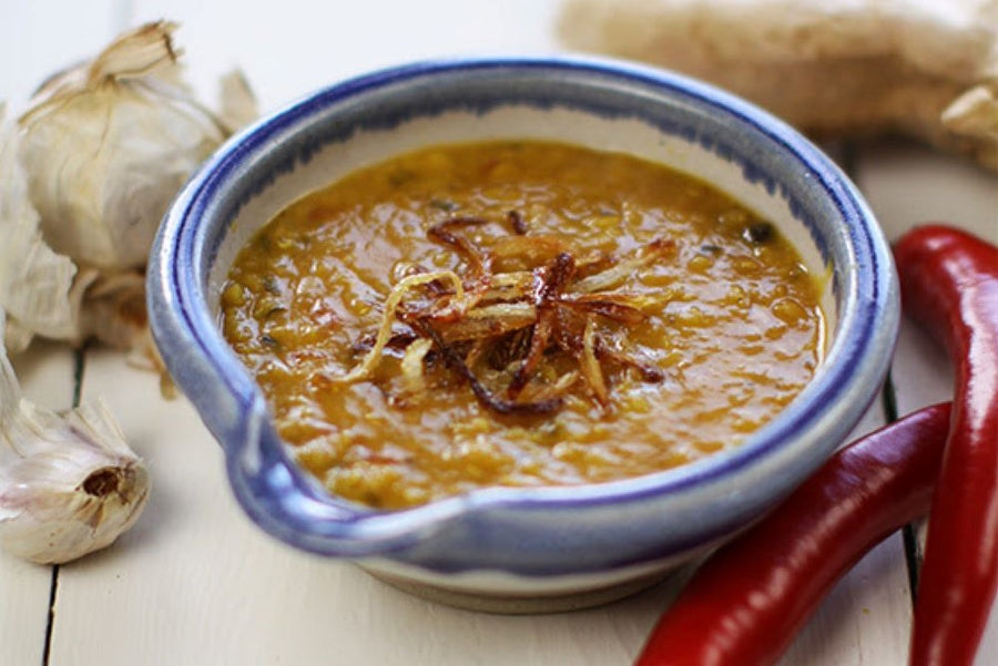 Red lentil dhal (serves 4pp as side or 2pp as main)