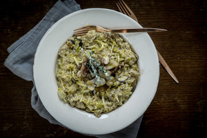 Vegan barley risotto with mixed mushrooms and thyme