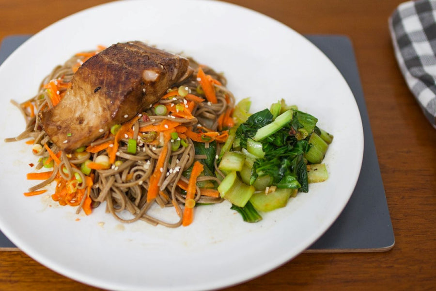 Miso-soy-honey glazed salmon with soba noodles and choice of greens