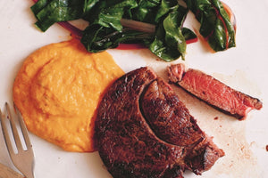 Venison with butternut squash purée