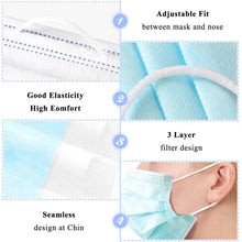 Load image into Gallery viewer, Disposable Face Mask Ear Loop Anti Dust Anti Allergen 3 Layer Filtration SUPER VALUE PACK 100 PCS