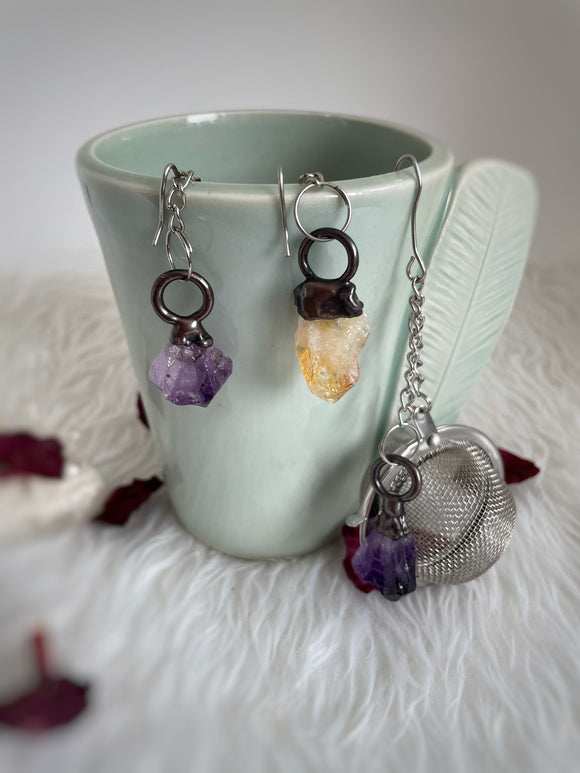 Crystal Tea Infuser, Stainless Steel Tea Infuser, Raw Gemstone, Amethyst, Citrine, Tea Infuser Ball, Tea Lover Gift, Made in Alaska