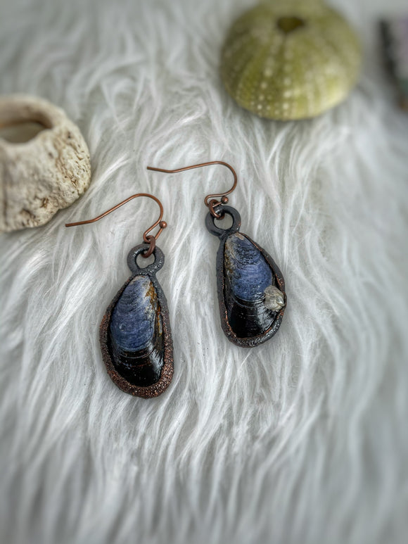 Mussel Shell Earrings, Copper Electroformed, Beachcomber Jewelry, Mermaid Jewelry, Alaskan Gift, Nature Jewelry, Made in Alaska