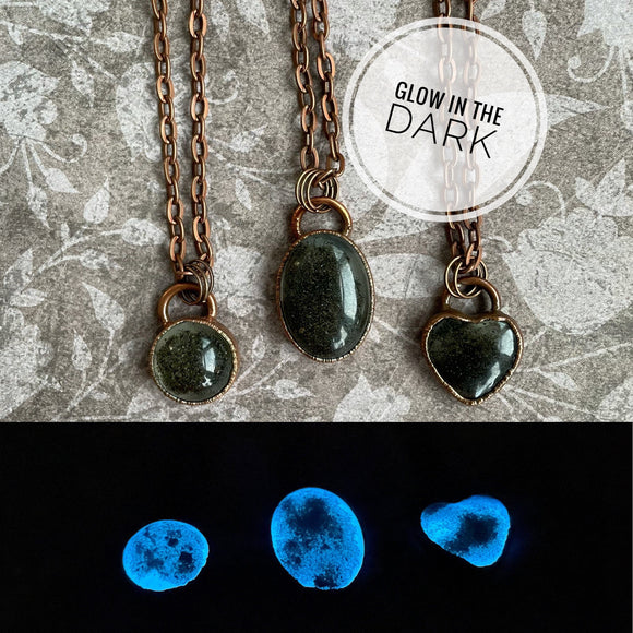 Glacier Silt Necklace, Blue Glow in the Dark, Mendenhall Glacier, Copper Electroformed, Resin Pendant, Alaskan Gift, Juneau, UV Necklace