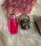 Crystal Essential Oil Roller Ball Bottle Necklace // Apatite & Herkimer Diamonds