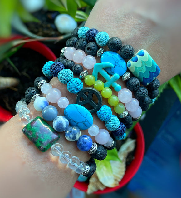 Diffuser Bracelets // Lava & Gemstone Beads // Essential Oil & Perfume Diffuser Jewelry