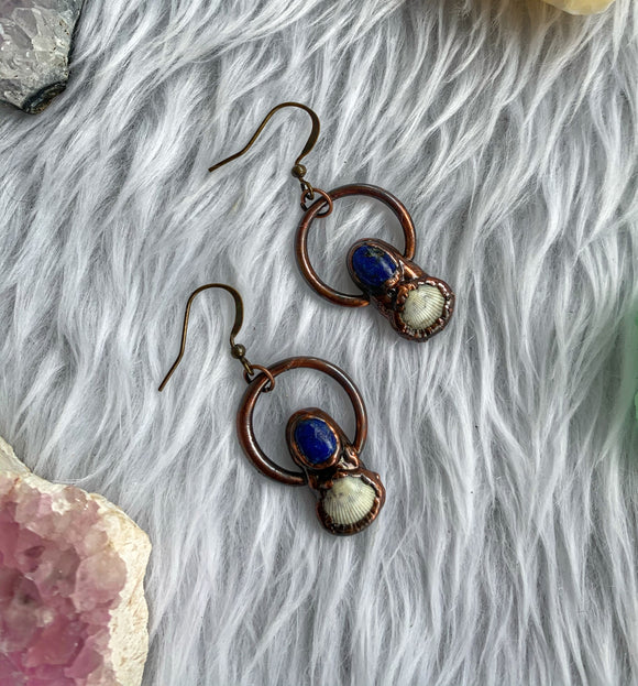 Lapis Lazuli & Alaskan Seashell Earrings