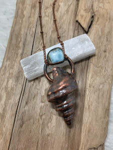 Alaskan Seashell Necklace with Larimar
