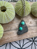 Alaskan Beach Stone Necklace with Green Aventurine Gemstone Accents