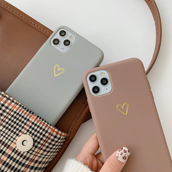 Matte Golden Heart Cases
