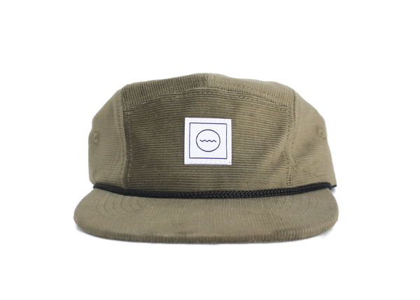 Corduroy Five-Panel Hat in Olive