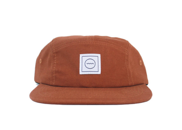 Cotton Five-Panel Hat in Rust 1