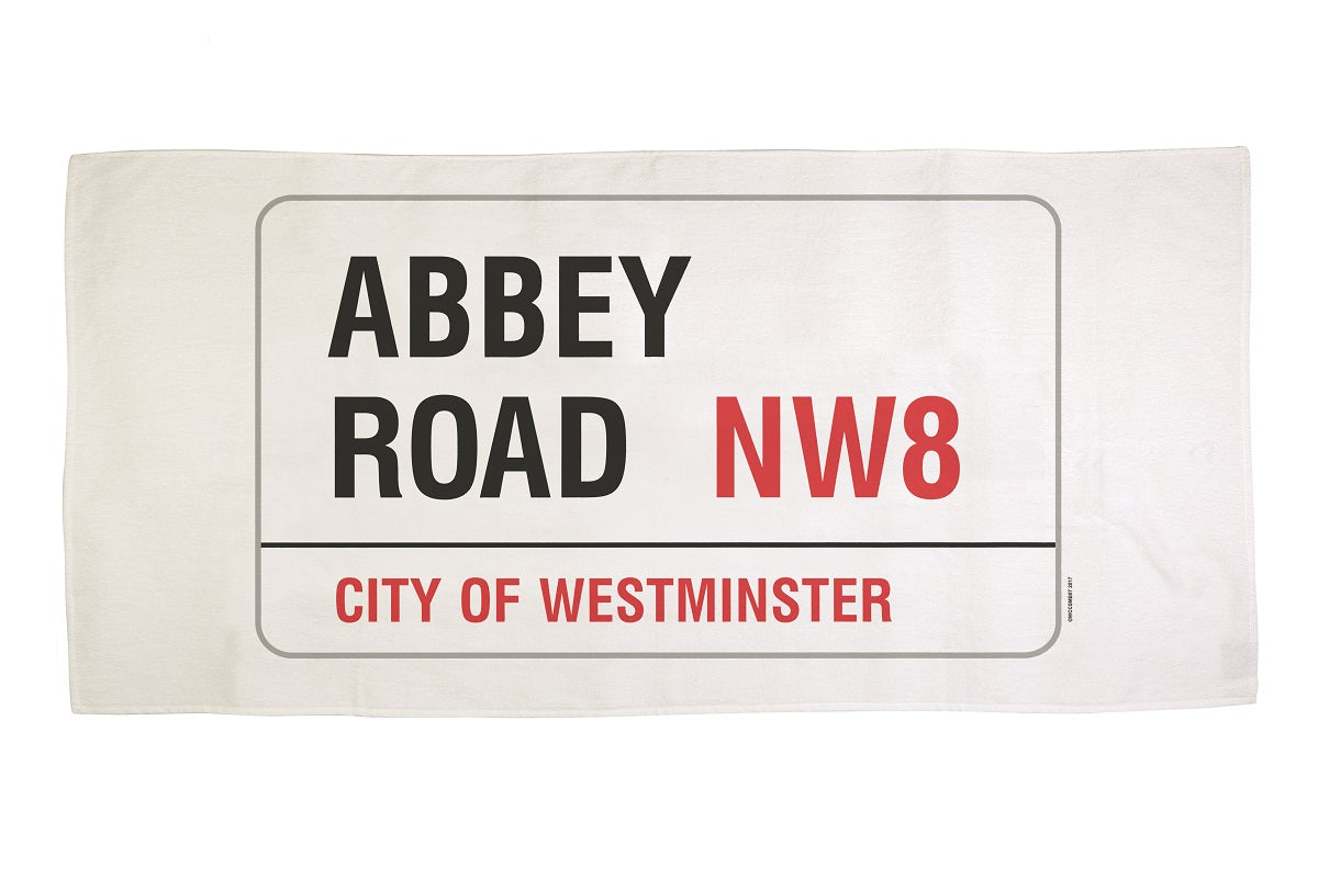 Cotton towelling london Abbey Road street sign bath towel