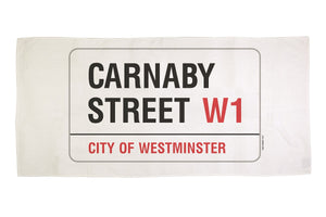 Cotton towelling london carnaby street sign bath towel
