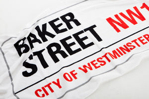 Cotton towelling london baker street sign beach towel