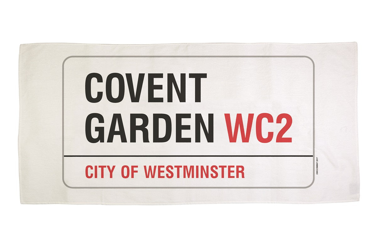 Cotton towelling london covent garden sign beach towel