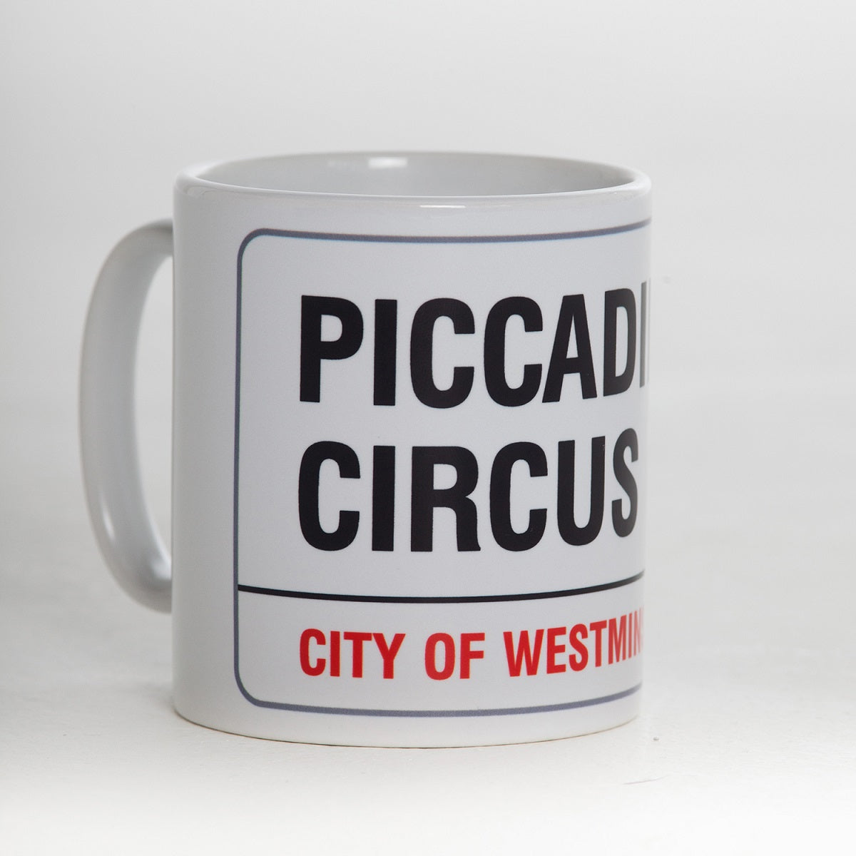 Earthenware piccadilly circus street sign mug