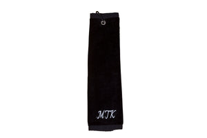 Personalised golf towel 100% black cotton velour with carabiner and grommet