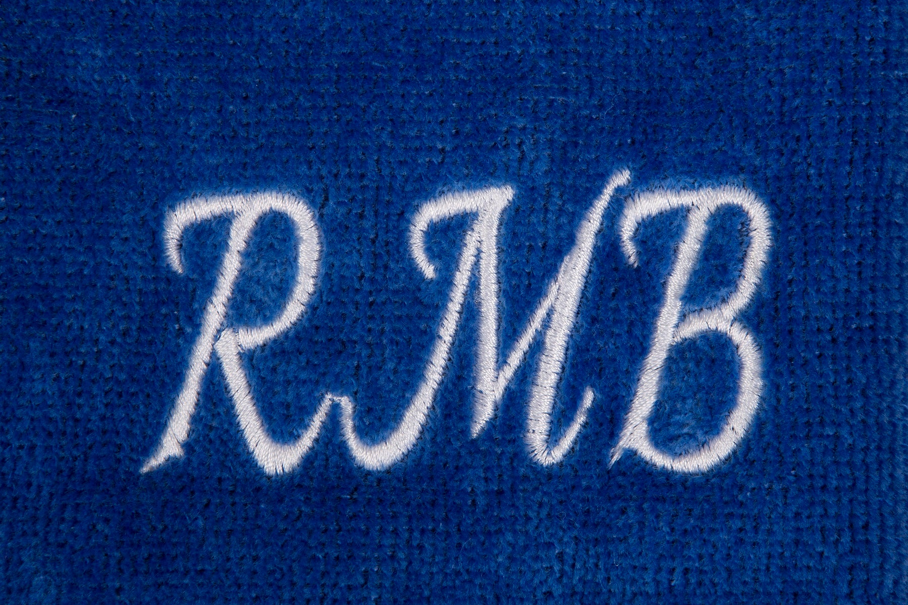 Personalised golf towel 100% royal blue cotton velour with carabiner and grommet