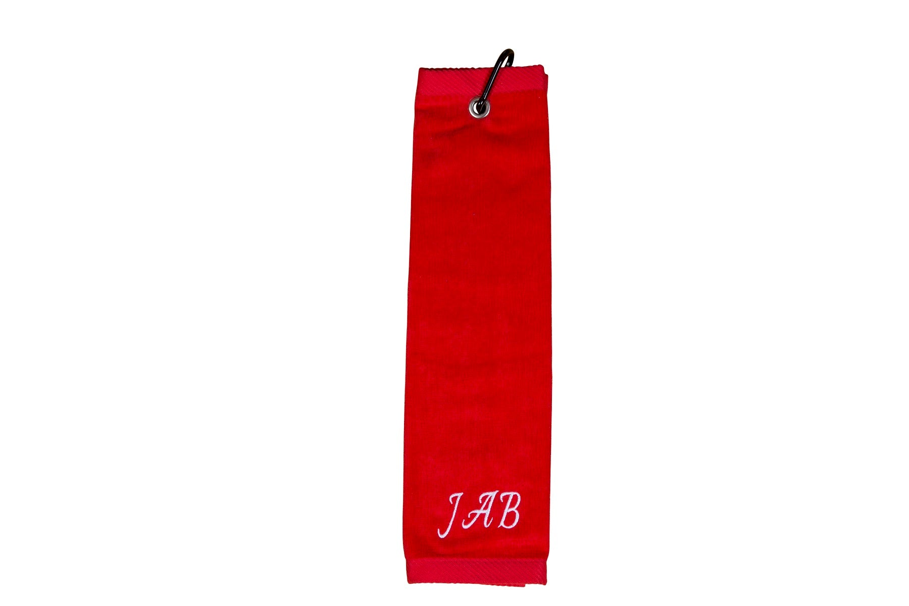 Personalised golf towel 100% red cotton velour with carabiner and grommet