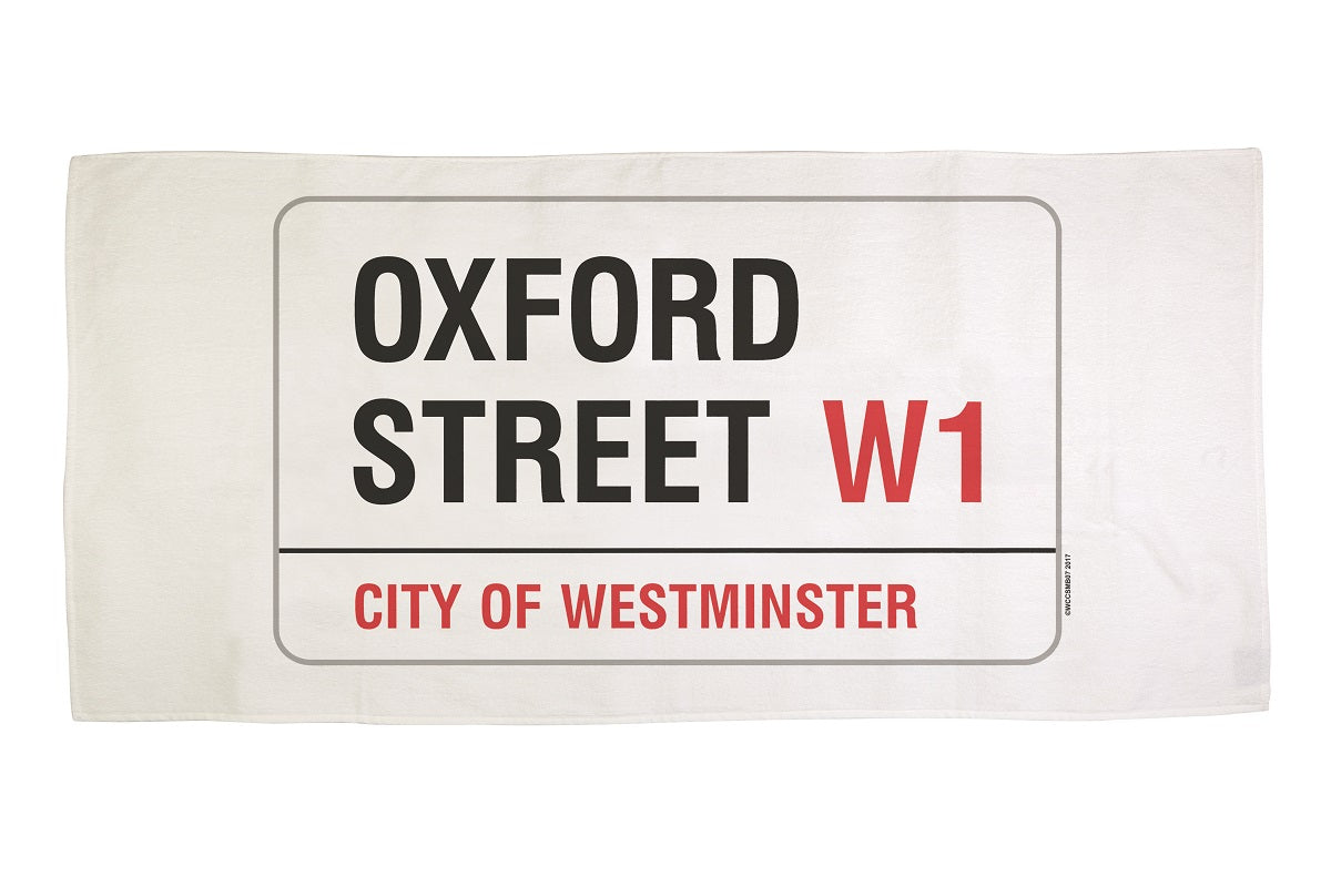 Cotton towelling london oxford street sign bath towel