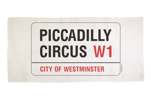 Cotton towelling london Piccadilly Circus street sign beach towel