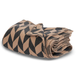recycled cotton blanket throw brown